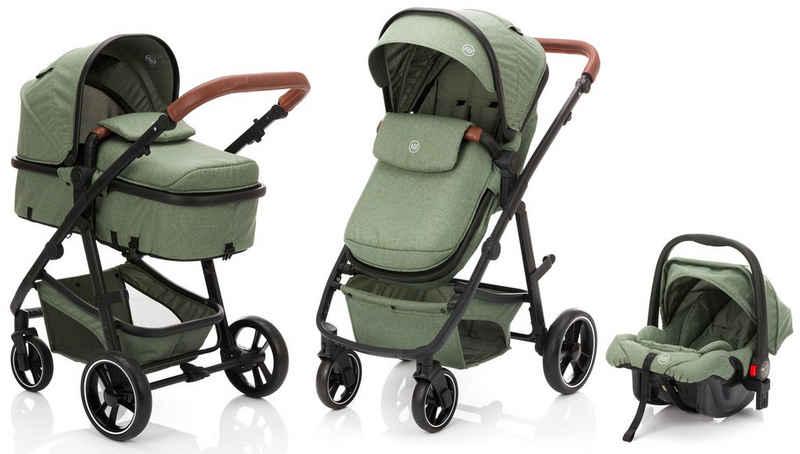 Fillikid Kombi-Kinderwagen »Panther, forest green/melange«, mit Babyschale; Kinderwagen