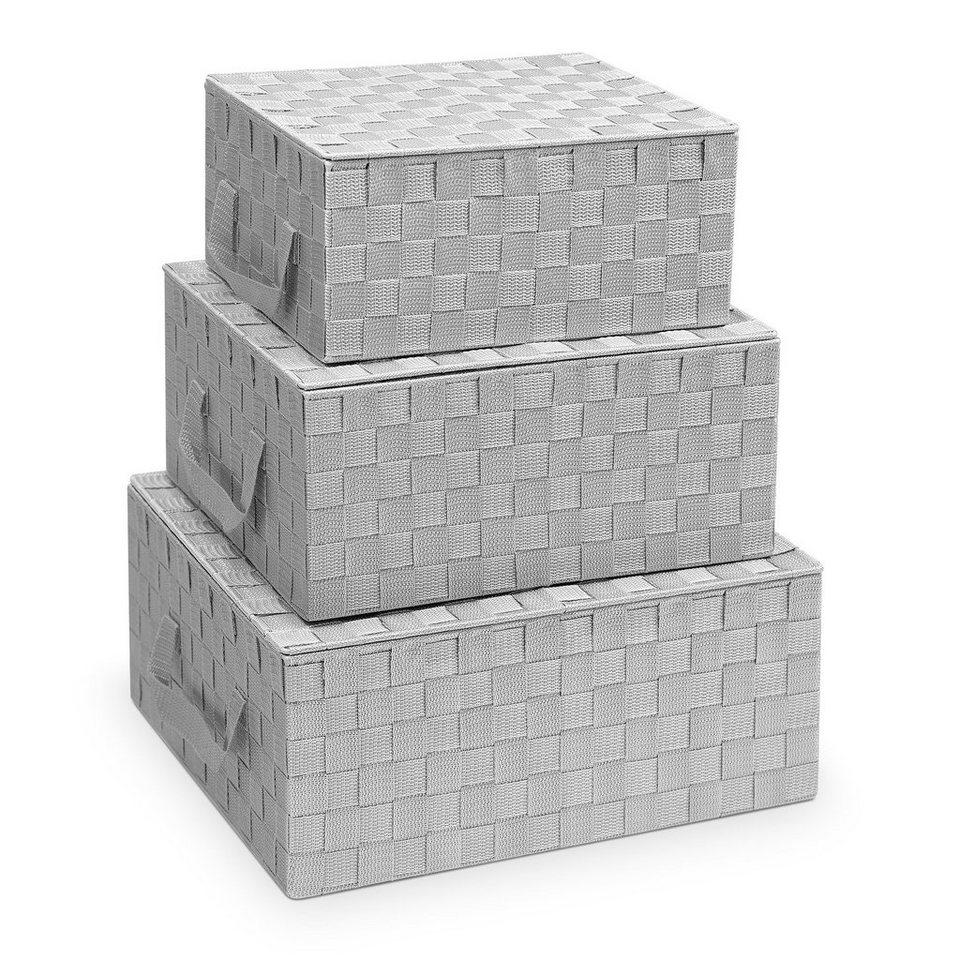 Navaris Aufbewahrungskorb, Aufbewahrungsbox Körbe geflochten mit Deckel    Box Set zur Aufbewahrung   Aufbewahrungskörbe für Badezimmer Kleiderschrank  ...