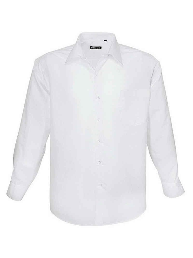 Lavecchia Langarmhemd »Übergrößen Herren Hemd HLA-1314« Basic Herrenhemd