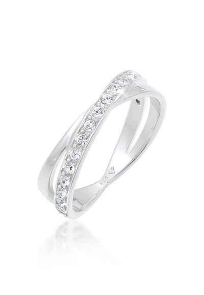 Elli Fingerring »Wickelring Swarovski® Kristalle 925 Silber«, Wickelring