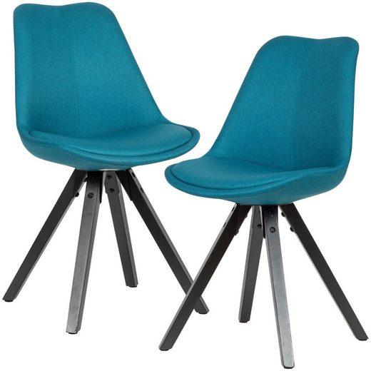 Wohnling Esszimmerstuhl »WL6.124« 2er Set Esszimmerstuhl Petrol mit schwarzen Beinen Stuhl Skandinavisch Polsterstuhl mit Stoff-Bezug Design Küchenstuhl gepolstert