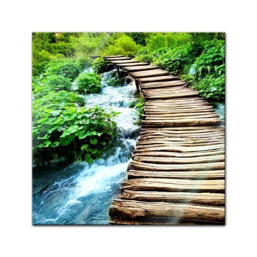 Bilderdepot24 Glasbild, Glasbild - Brücke über einen Fluss