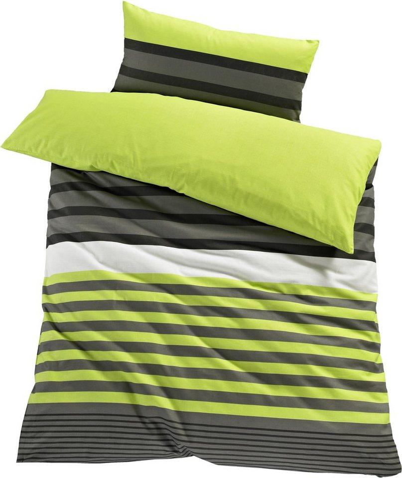 Bettwäsche, H.I.S, »Majoran«, mit Streifen in grün