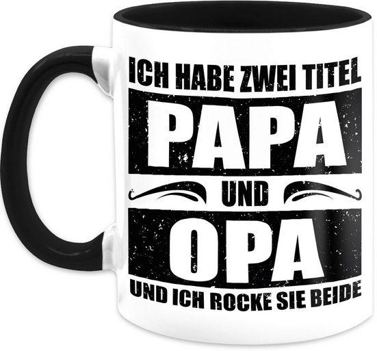 Shirtracer Tasse »Ich habe zwei Titel Papa und Opa / simpel - schwarz - Vatertagsgeschenk Tasse - Tasse zweifarbig«, Keramik