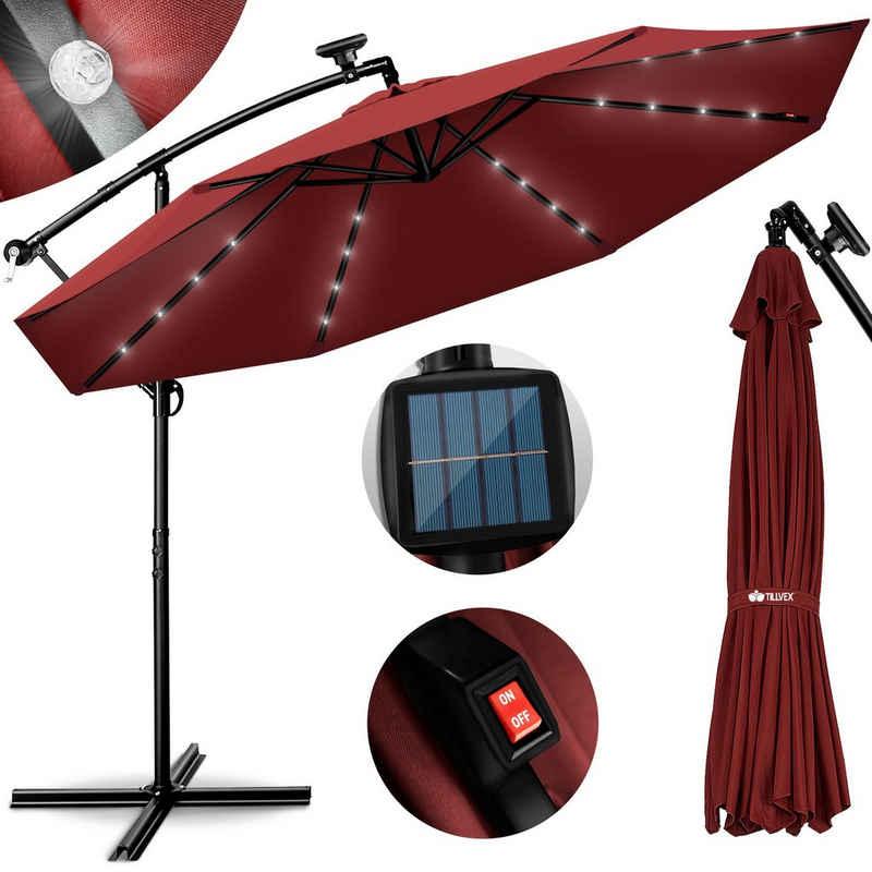 tillvex Sonnenschirm, Alu Ampelschirm LED Solar Ø 300 cm mit Kurbel, Sonnenschirm mit An-/Ausschalter, Gartenschirm UV-Schutz Aluminium, Kurbelschirm mit Ständer Marktschirm wasserdicht