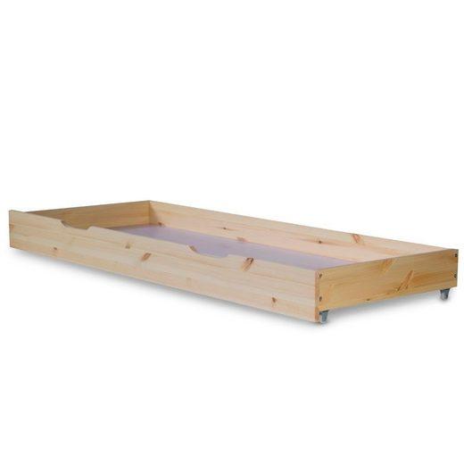 Homestyle4u Bettschubkasten »Bettkasten Holz Aufbewahrung mit Rollen Bett«