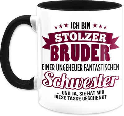 Shirtracer Tasse »Ich bin stolzer Bruder einer ungeheuer fantastischen Schwester - Bordeaux - Tasse - Tasse Geschwister - Tasse zweifarbig«, Keramik