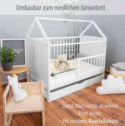 "Alcube Babybett »Hausbett ""Charlie"" 60x120 cm I Made in Europe«, Gitterbett umbaubar zum Haus Kinderbett"