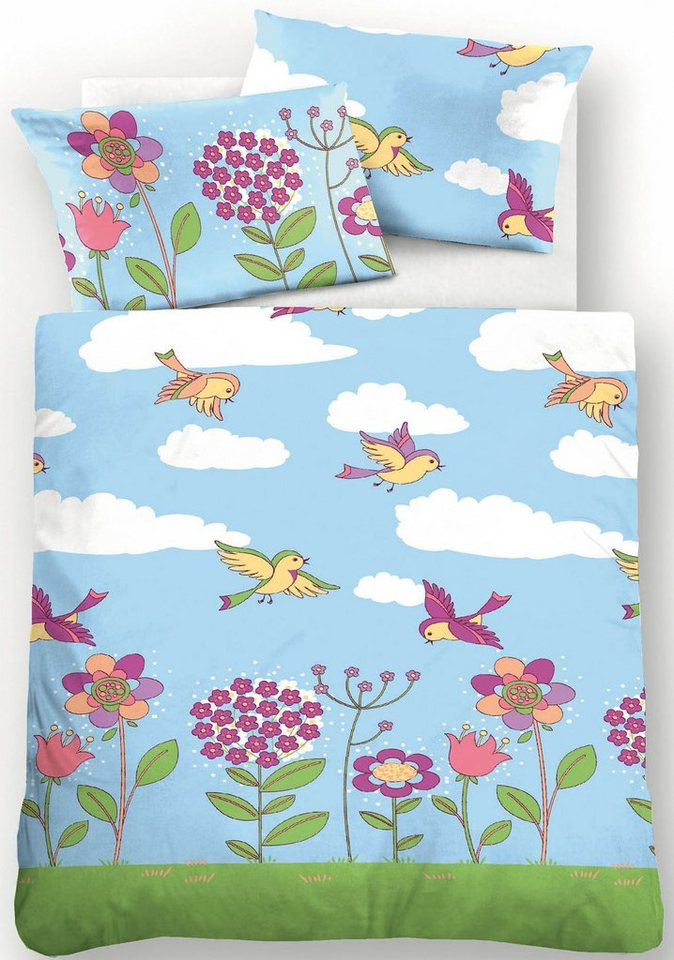 Kinderbettwäsche, Biberna, »Sky«, Frühlingsmotiv in blau