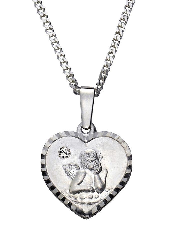 firetti Halsschmuck: Halskette »Herz mit Schutzengel« in Panzerkettengliederung mit Glassteinen