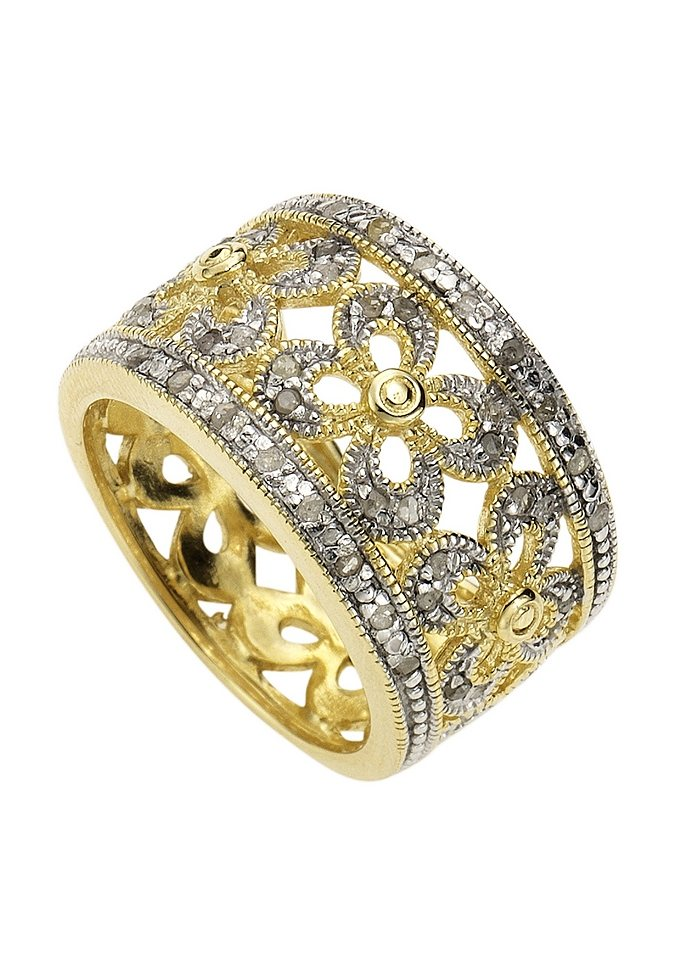 Vivance Jewels Ring »Blume« mit Diamanten in goldfarben