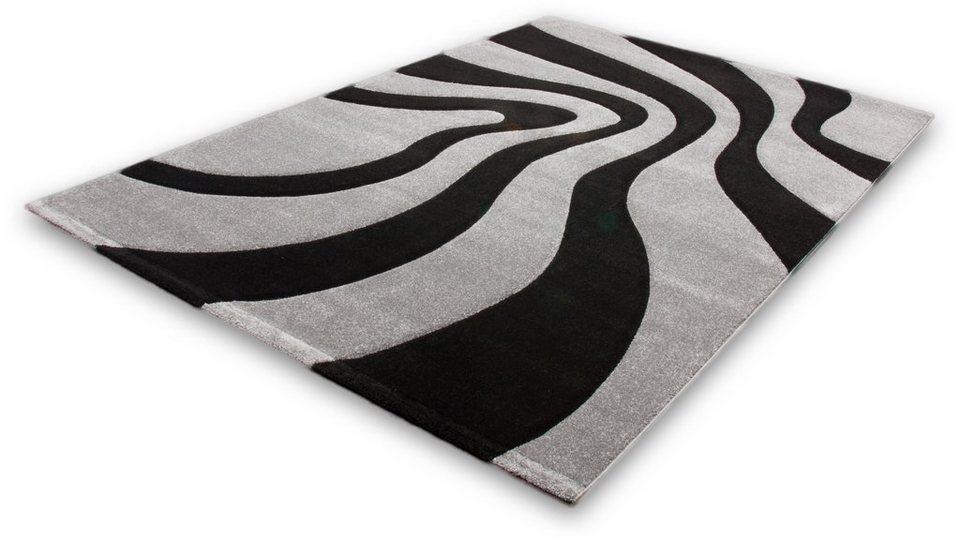 Teppich, Lalee, »Lambada 452«, handgearbeiteter Konturenschnitt, gewebt in Schwarz / Silber