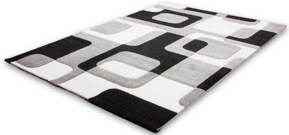Webteppich, Lalee, »Lambada«, handgearbeiteter Konturenschnitt in Silber / Schwarz