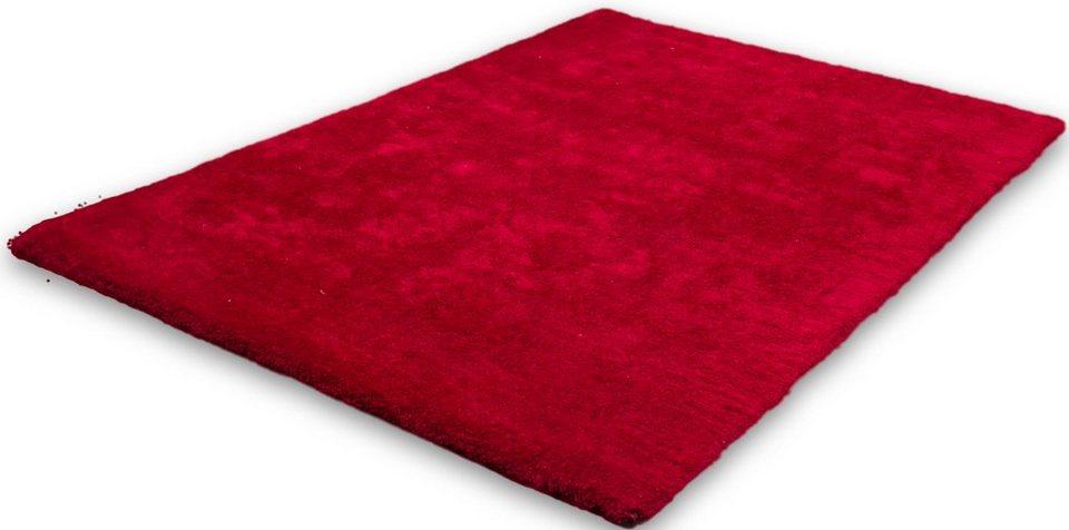 Hochflor-Teppich, Lalee, »Velvet«, Höhe ca. 25mm, hangearbeitet in Rot