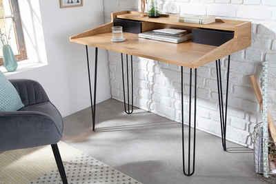 riess-ambiente Schreibtisch »STUDIO 110cm natur / schwarz«, Laptoptisch · Industrial · Bürotisch · Eichenoptik · Hairpin Legs · Arbeitszimmer