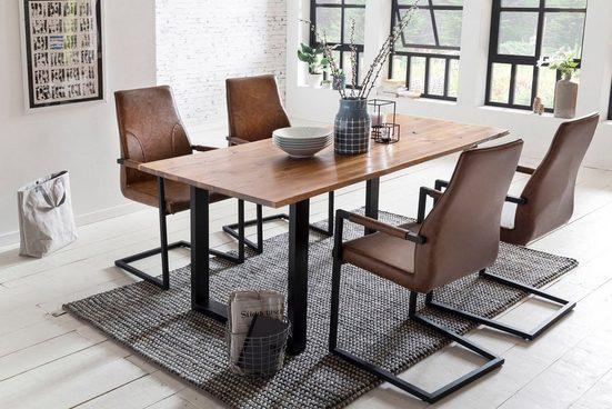 SalesFever Essgruppe, (Set, 5-tlg), bestehend aus 4 modernen Freischwinger Stühlen und einem 160 cm breitem Tisch