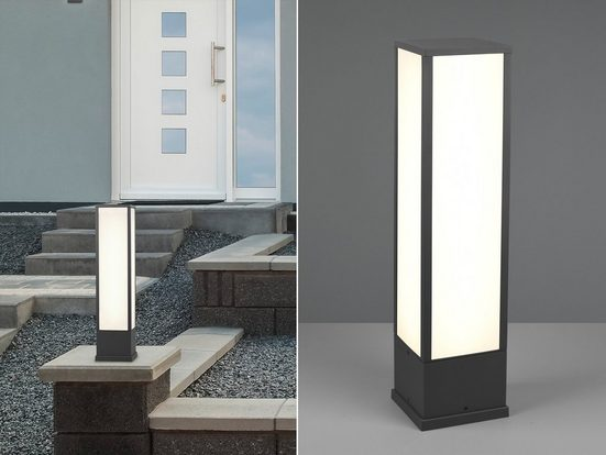 meineWunschleuchte LED Sockelleuchte, 2er Set Wege-Beleuchtung für Außen Outdoor Stehlampe Garten Terrassen-Leuchte, Anthrazit 60cm