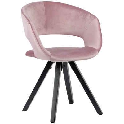 Wohnling Esszimmerstuhl »WL6.108« Esszimmerstuhl Samt Rosa mit schwarze Beine Modern Küchenstuhl mit Lehne Stuhl mit Holzfüßen Polsterstuhl