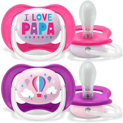 Philips AVENT Schnuller »SCF080/04«, ultra air Schnuller, 6 bis 18 Monate Girl, Kiefergerecht und BPA-frei, Doppelpack, Papa/Balloon