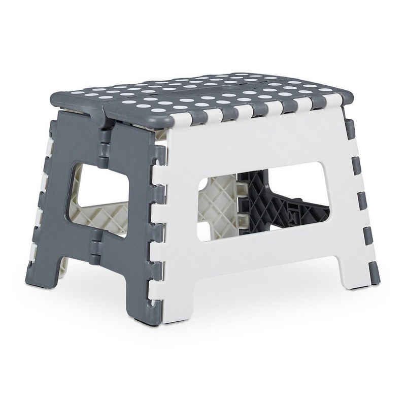 relaxdays Fußhocker »1 x klappbarer Tritthocker in Weiß-Grau«