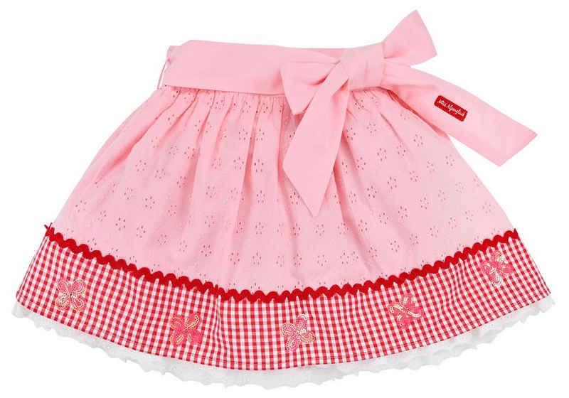 BONDI Sommerrock »Süßer Rock für Mädchen mit Schleife 26079 - Rosa Rot - Kinderrock mit Pailletten Lochstickerei«