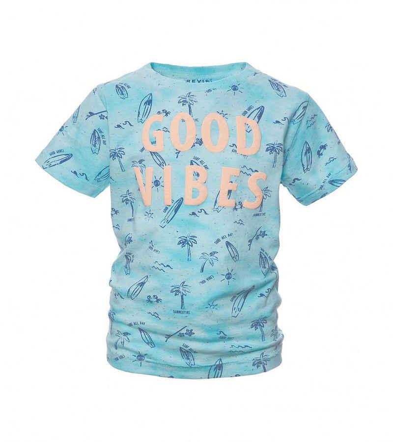REVIEW Kurzarmshirt »REVIEW Kinder Sommer-Shirt cooles T-Shirt mit Puff-Print Freizeit-Shirt Aqua-Blau«