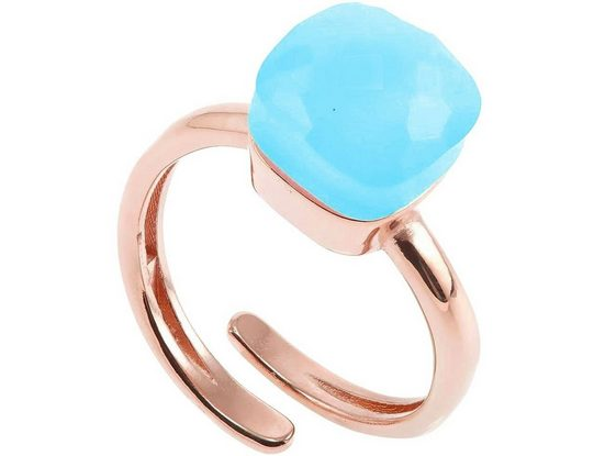 Gemshine Solitärring »Meeresblauer Chalcedon - Größenverstellbar«, Made in Spain