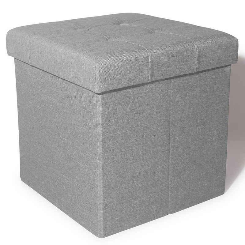 Zedelmaier Fußhocker »Zedelmaier Sitzhocker mit Stauraum, Fußbank Truhen Aufbewahrungsbox faltbar belastbar bis 300 kg, Leinen, 38 x 38 x 38 cm«
