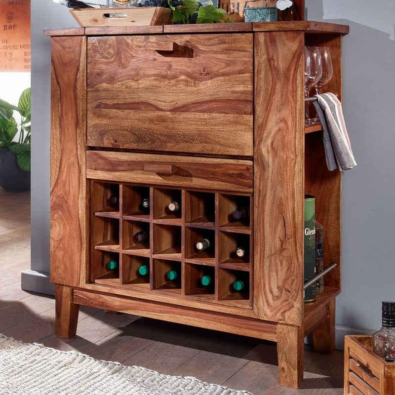 FINEBUY Barschrank »FB71504« Hausbar Sheesham Massivholz 88x102x40 cm Weinschrank für Flaschen Weinbar Aufklappbar mit Tür Getränkeschrank Landhaus Modern