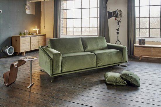 KAWOLA Sofa »GALAX«, Schlafsofa Stoff Velvet grün