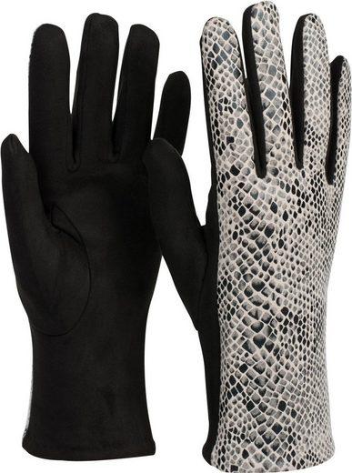 styleBREAKER Strickhandschuhe Stoff Handschuhe in Schlangenleder Optik