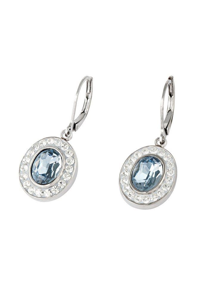 firetti Ohrschmuck: Paar Ohrhänger mit Kristallsteinen in blau