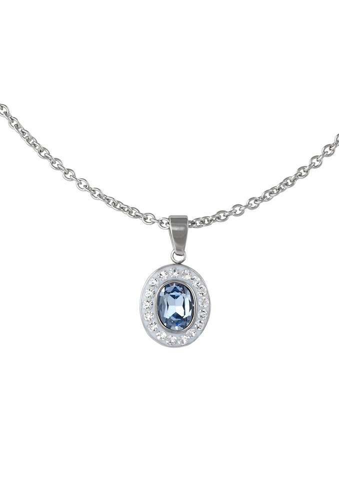 firetti Halsschmuck: Halskette in Ankerkettengliederung mit Kristallsteinen in blau