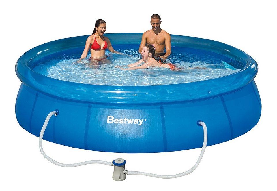Pool, Bestway, »Fast Set Familienpool 366«, inkl. Filterpumpe in blau