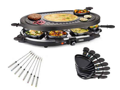 PRINCESS Raclette, 8 Raclettepfännchen, 1200 W, Modernes Raclette Gerät für 2-8 Personen, ovaler Tischgrill mit Crêpefläche, 1200 Watt, Raclet inklusive Teppanyaki Gabeln
