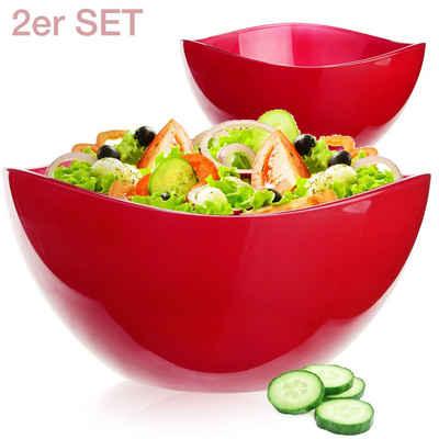 PLATINUX Schüssel »Rote Schüsseln«, Glas, (2-tlg), Obstschale 1,7L Set 2 Teilig Glasschale Dessertschüssel Salatschüssel groß Schüssel Obstschüssel