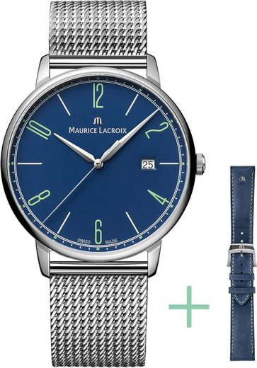 MAURICE LACROIX Schweizer Uhr »Eliros Date, EL1118-SS00E-420-C«, (Set, 2-tlg., mit Wechselband aus Edelstahl)