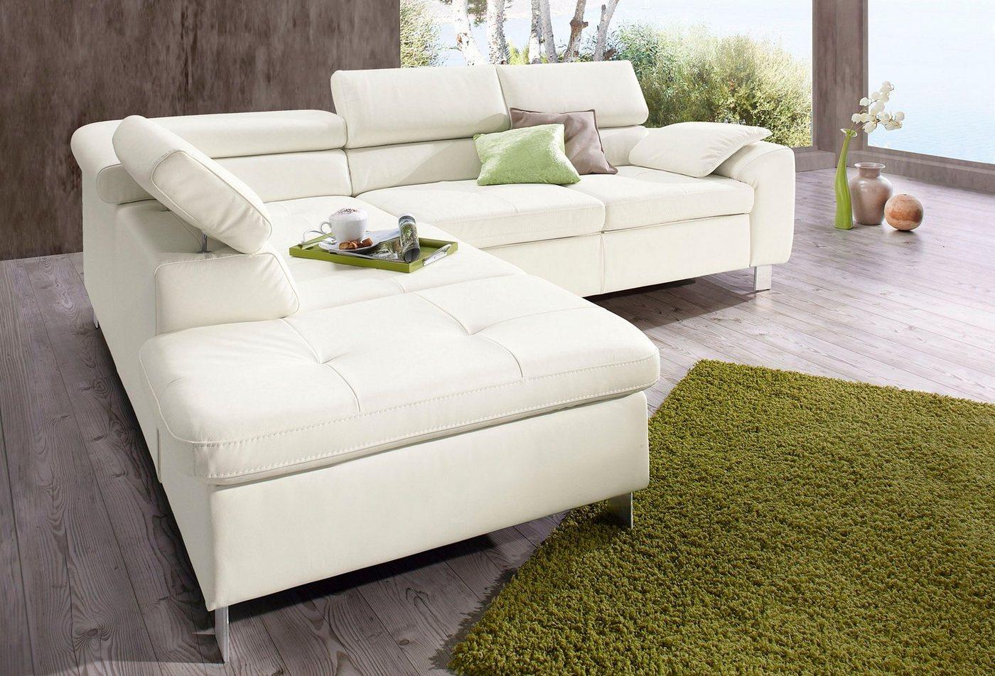 sit&more Ecksofa, wahlweise mit Bettfunktion | Wohnzimmer > Sofas & Couches > Ecksofas & Eckcouches | Weiß | sit&more
