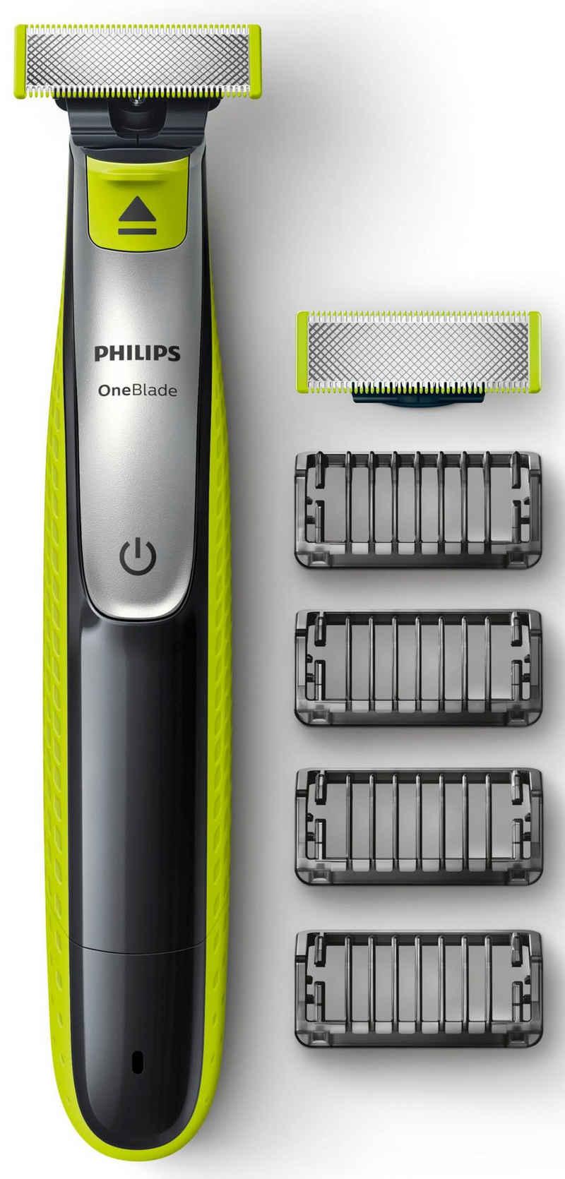 Philips Elektrorasierer OneBlade QP2530/30, Aufsätze: 4, wiederaufladbar, nass oder trocken verwendbar