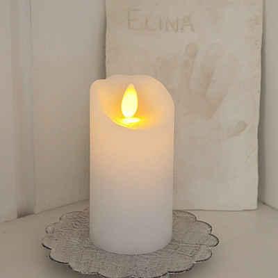 STAR TRADING LED-Kerze »LED Kerze GLOW - Echtwachs - gelb flackernd - Timer - H: 10cm, D: 5,5cm - weiß«