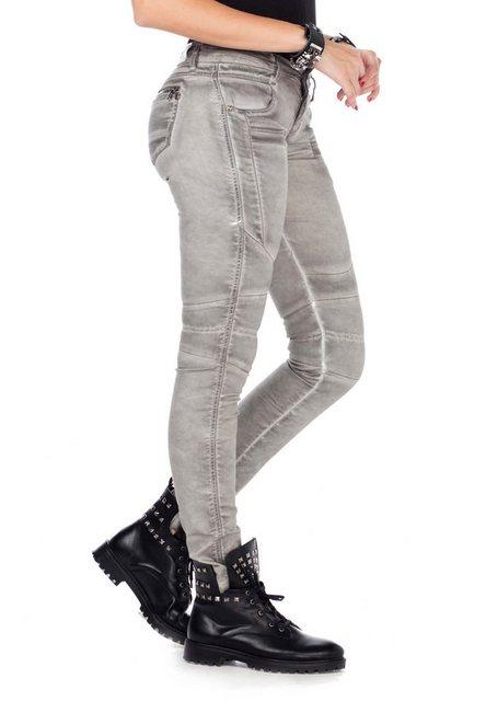 Hosen - Cipo Baxx Slim fit Jeans mit trendigen Abnähern im Straight Fit › grau  - Onlineshop OTTO