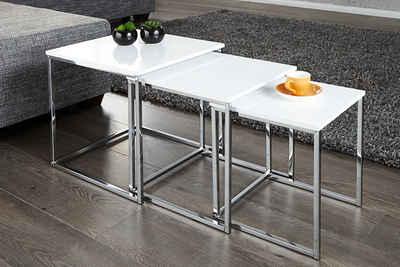 riess-ambiente Beistelltisch »ELEMENTS 40cm weiß / chrom« (3er-Set), Hochglanz · Metall-Gestell · platzsparend · Modern Design