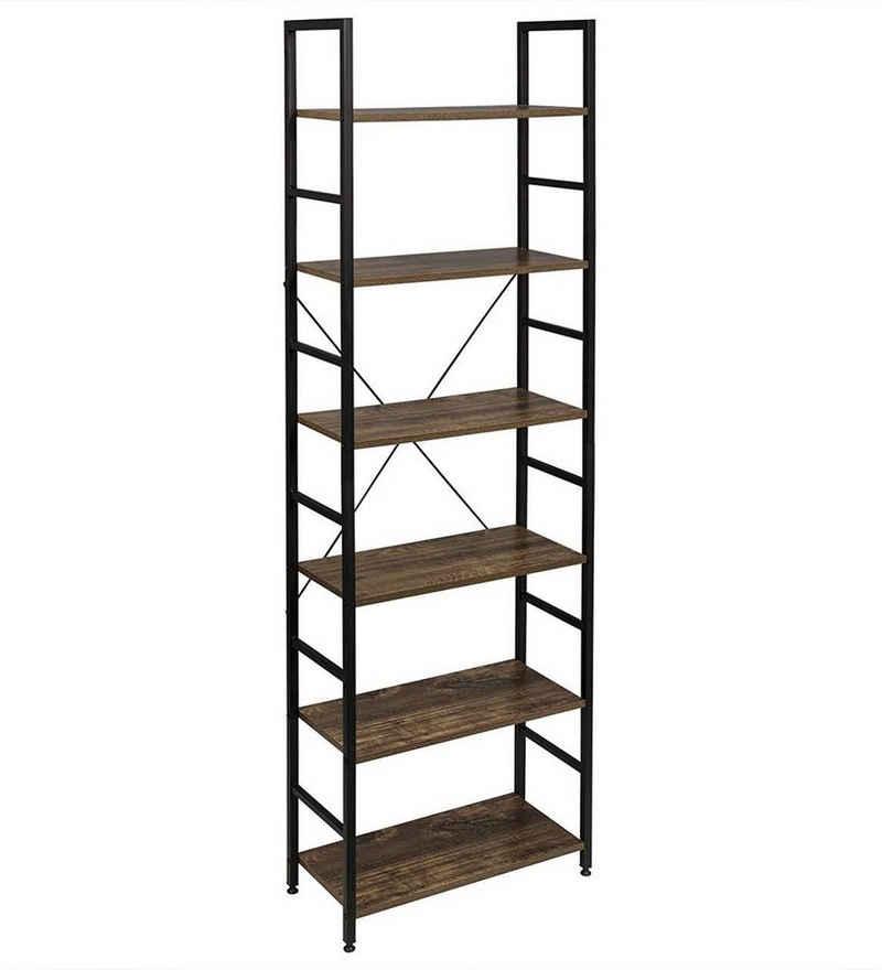 EUGAD Bücherregal »0011ZWJ-DPT«, Standregal, Küchenregal, 6 offenen Regalebenen, MDF, Metall, Vintage