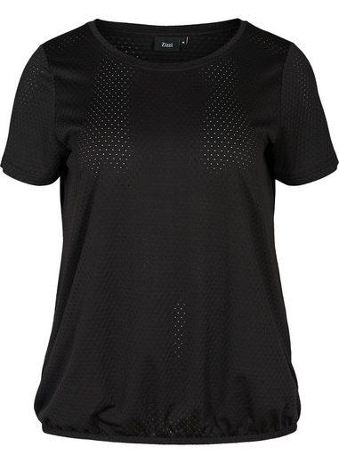 Zizzi T-Shirt Große Größen Damen Rundhals T Shirt mit Stretch und Lochmuster