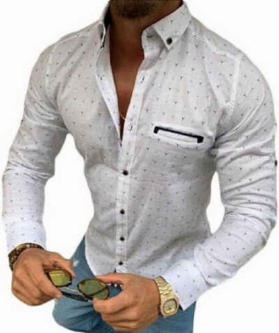 Megaman Jeans Langarmhemd »MEGAMAN Langarmhemd Herren designer Premium Megaman Hemd Slim-Fit Business Hochzeit Shirt Hemden Größe«