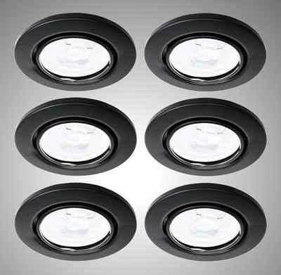 TRANGO LED Einbauleuchte, 6729-065G6KSDAK 6er Set LED Deckenstrahler in Schwarz matt Rund inkl. 6x 5 Watt 3-Stufen dimmbar GU10 LED Leuchtmittel 6000K Tageslichtweiß (kaltwei), Einbaustrahler, Einbauspot, Deckenleuchte, Deckenspots