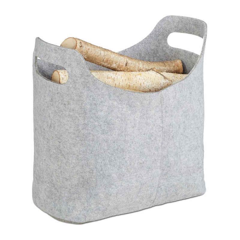 relaxdays Holztragetasche »Kaminholztasche aus Filz«