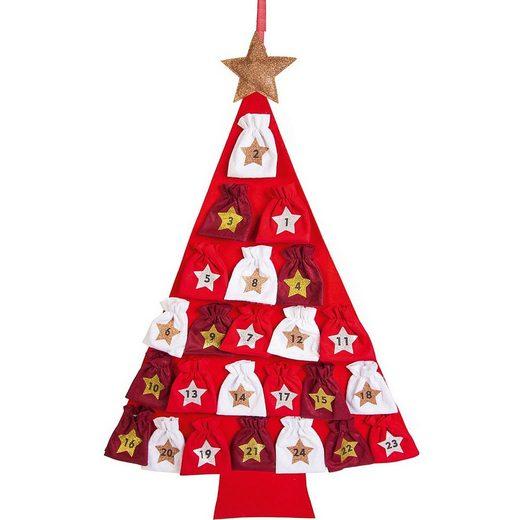 Hotex Wandkalender »Adventskalender Baum weiß/rot, 80 x 115 cm«