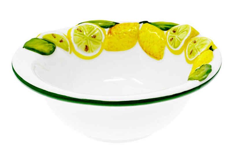 Lashuma Salatschüssel »Zitrone«, Keramik, italienische Servierschale rund, Obstschüssel handgemacht