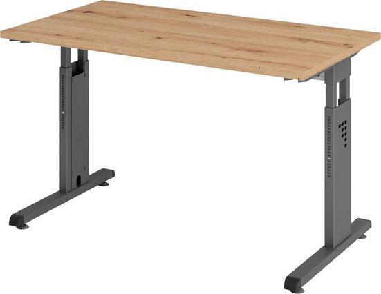 bümö Schreibtisch »OM-OS612-G«, höhenverstellbar, Bürotisch für's Homeoffice - Rechteck: 120x67 cm - Gestell: Graphit
